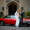 Red Vintage Wedding Car Autumn Wedding Passion for Flowers at Hampton Manor