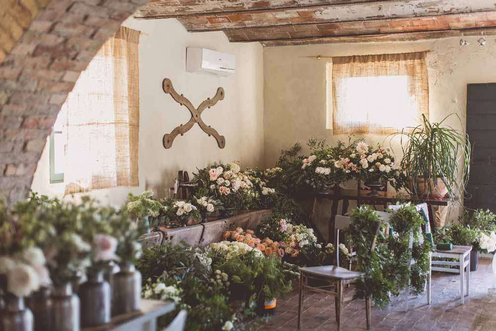 Rustic Hilltop Wedding Flowers Tuscany Italy Passion for Flowers Destination Wedding - Centrepiece Preparations