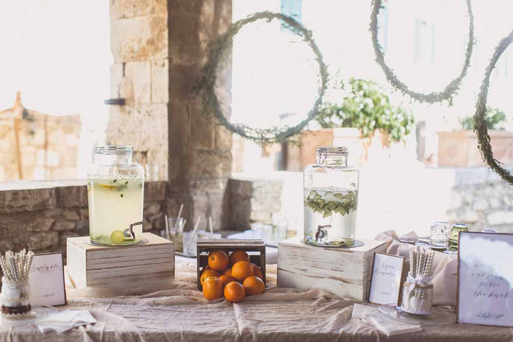 Pre wedding ceremony drinks table, Destination wedding tuscany