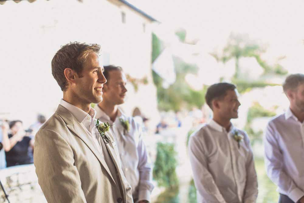Destination wedding ceremony groomsmen Italy Tuscany