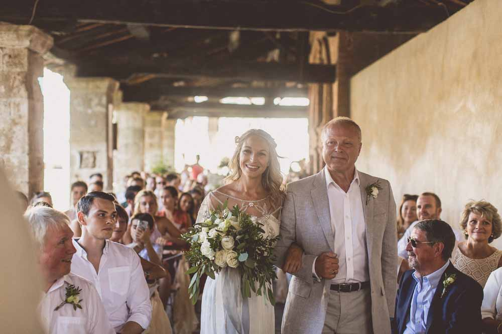 Outdoor wedding ceremony Bride and Father Tuscany, Bagno Vignoni