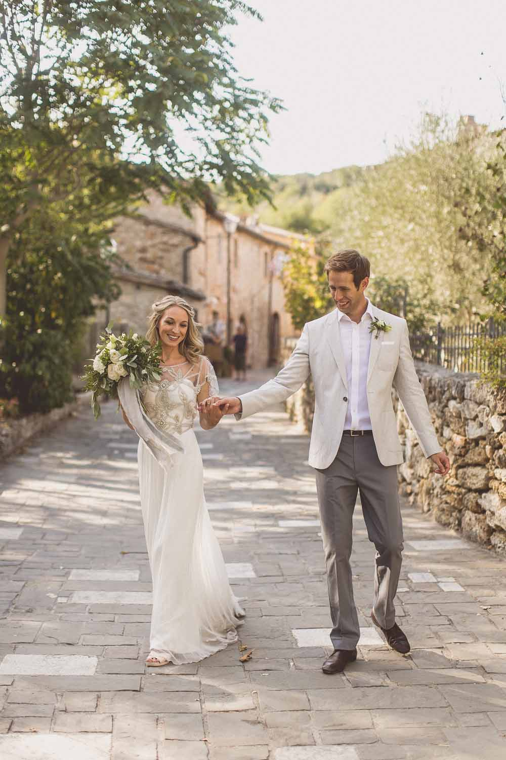 Anna Campbell Adelaide Wedding Gown, destination wedding Tuscany, Bagno Vignoni