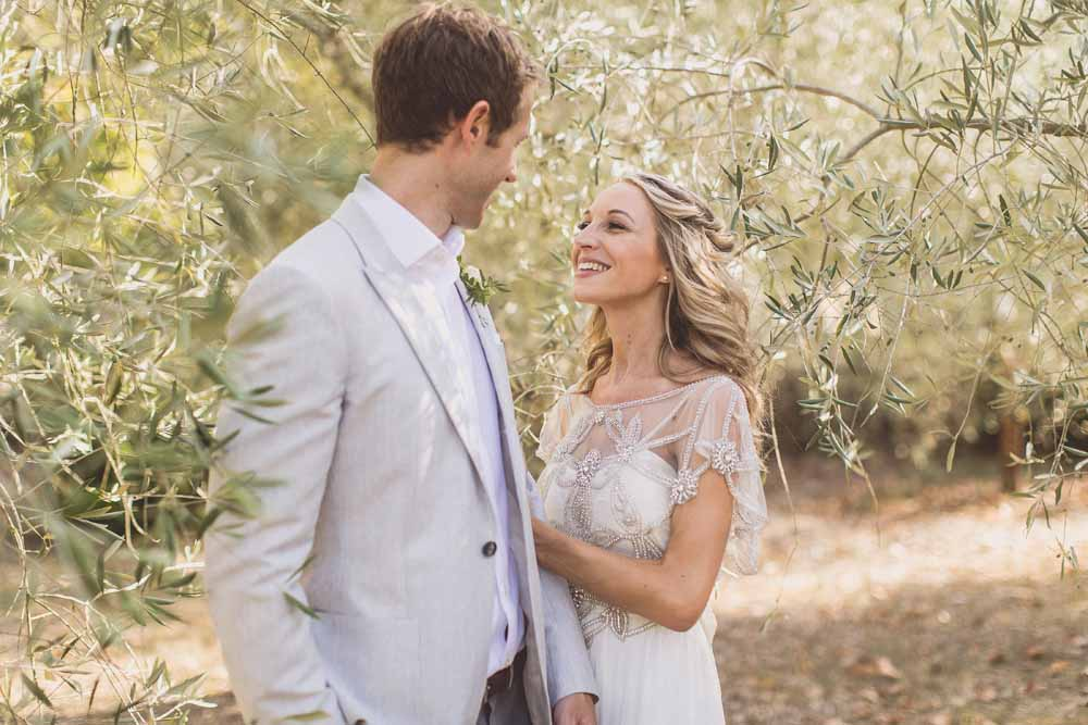 Anna Campbell Adelaide Wedding Gown, Couple portraits Destination wedding Tuscany, Olive Grove