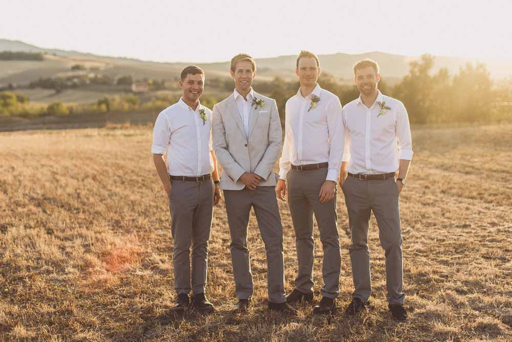 Groomsmen attire grey chinos white shirts grey blazer jacket Locanda In Tuscany