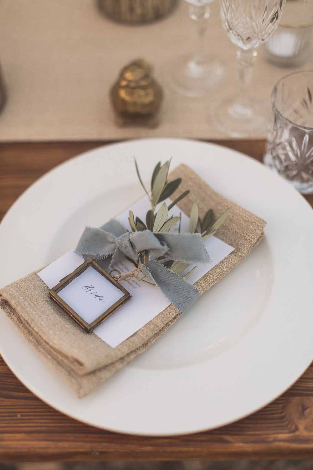 Italian style olive wedding place setting - brass place card holder by The Wedding of my Dreams (shop)