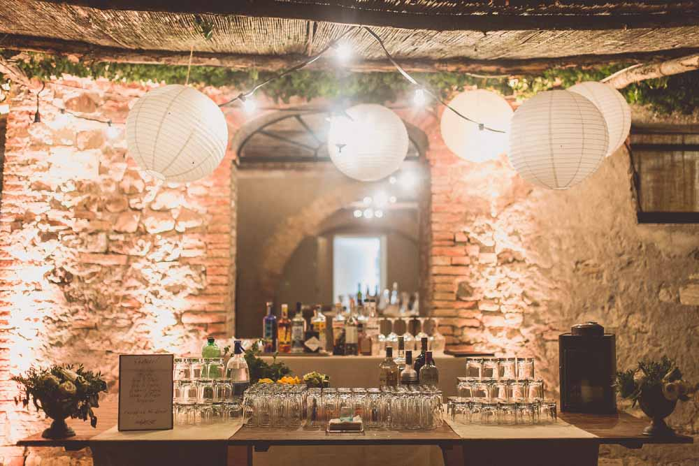 Wedding Bar set up outdoor bar Italian wedding - Locanda In Tuscany