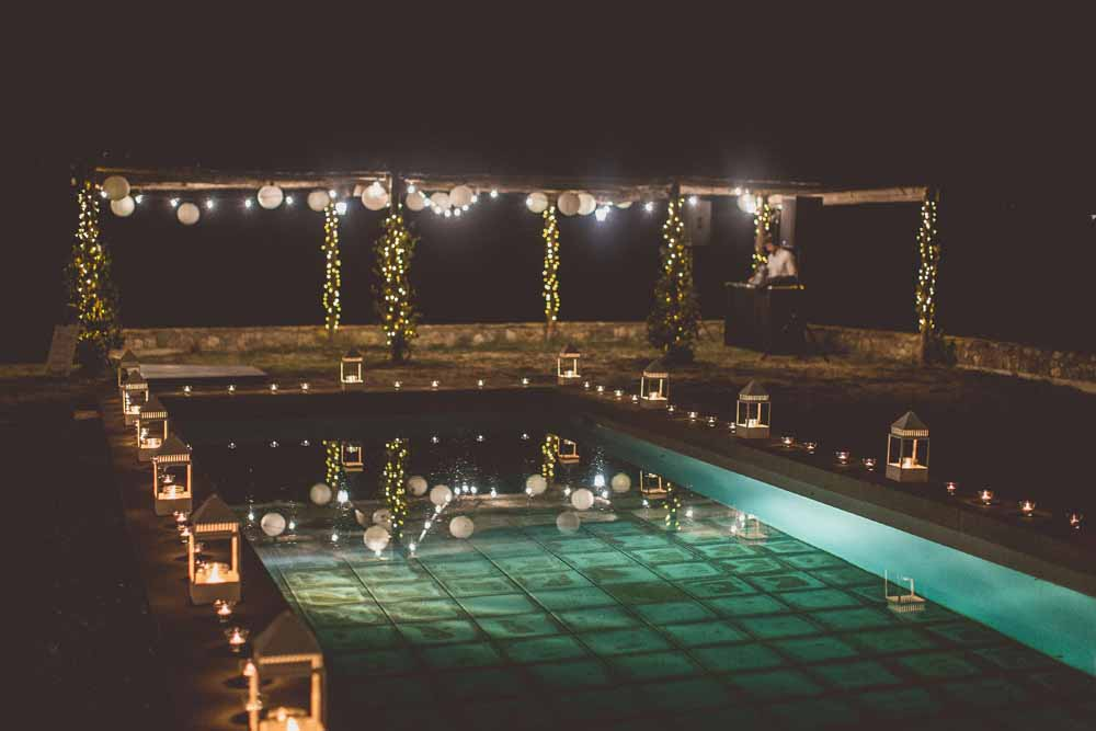 Wedding pool decoration Italy Tuscany lanterns string lighting, Locanda In Tuscany