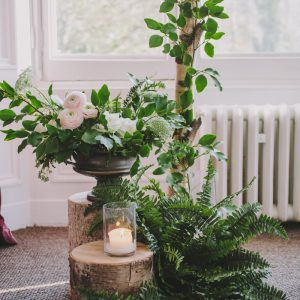 Hampton Manor Wedding Florist Passion for Flowers Rustic Wedding Ceremony Tree Stumps Backdrops