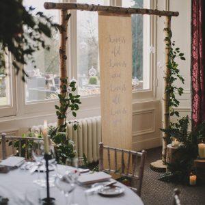 Rustic Birch Arch Scroll Backdrop Hampton Manor Wedding Florist Passion for Flowers