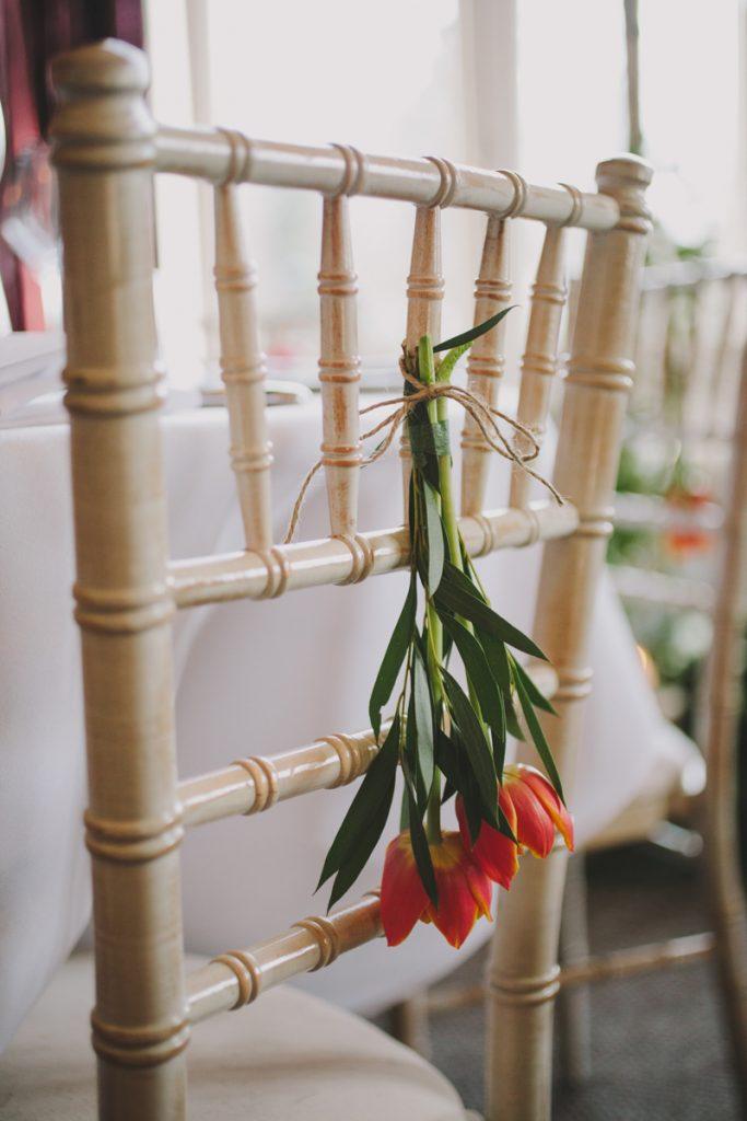 Spring Tulips wedding chair decorations Hampton Manor Wedding Florist Passion for Flowers