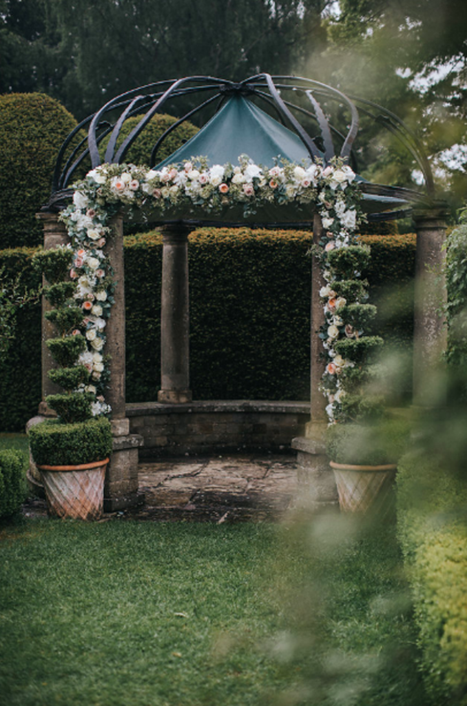 Birtsmorton Court outdoor wedding ceremony arch flower garland the white garden Passion for Flowers