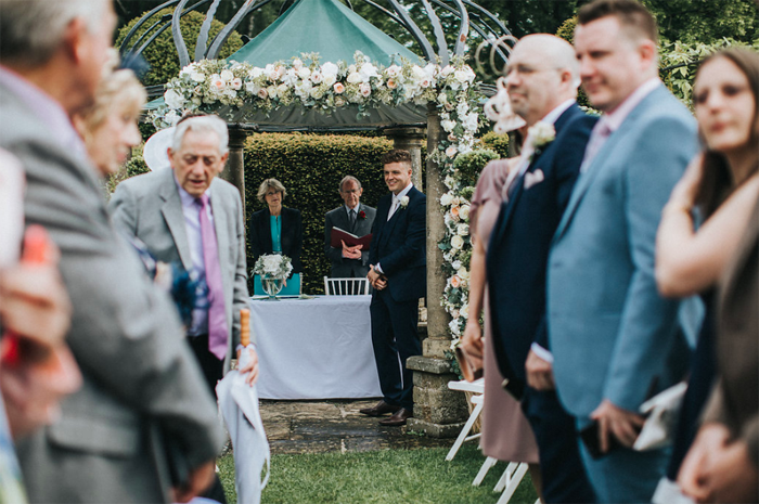 Birtsmorton court wedding outdor ceremony arch of flowers by Passion for Flowers