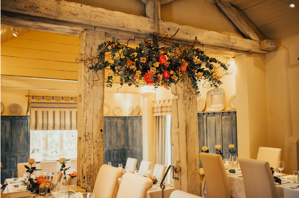Country Pub Wedding Hanging Floral Installation twigs Passion for Flowers wedding florists Solihull