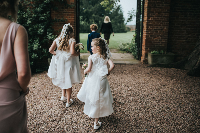 Flower girls dresses outdoor wedding ceremony Birtsmorton Court