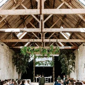 Foliage Arches & Foliage Hanging Hoops Barn Wedding Longbourne Barn wedding ceremony Passion for Flowers Festival Wedding