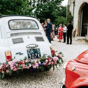 Wedding Cars Flower Garland Tipi Barn Wedding - florist Passion for Flowers