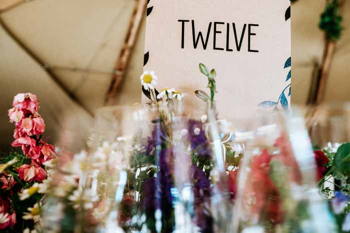 Festival wedding flowers summer wedding in Tipi - florist: Passion for Flowers