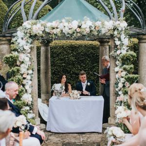 Outdoor wedding ceremony Birtsmorton Court Passion for Flowers Midlands