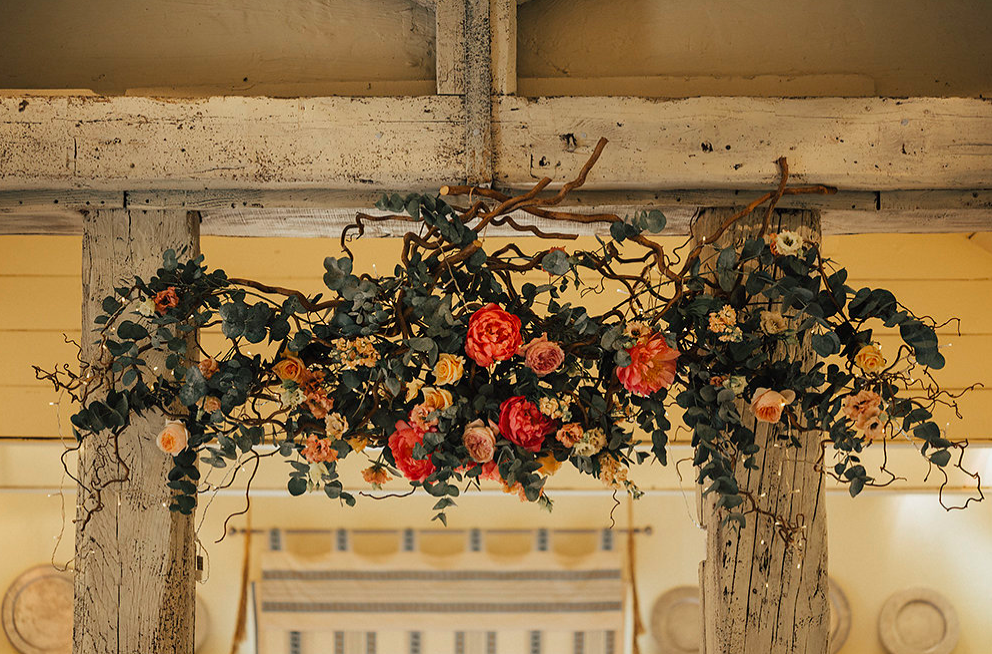 Rustic Twigs Hanging Floral Installation Country Pub Wedding Passion for Flowers wedding florists Solihull