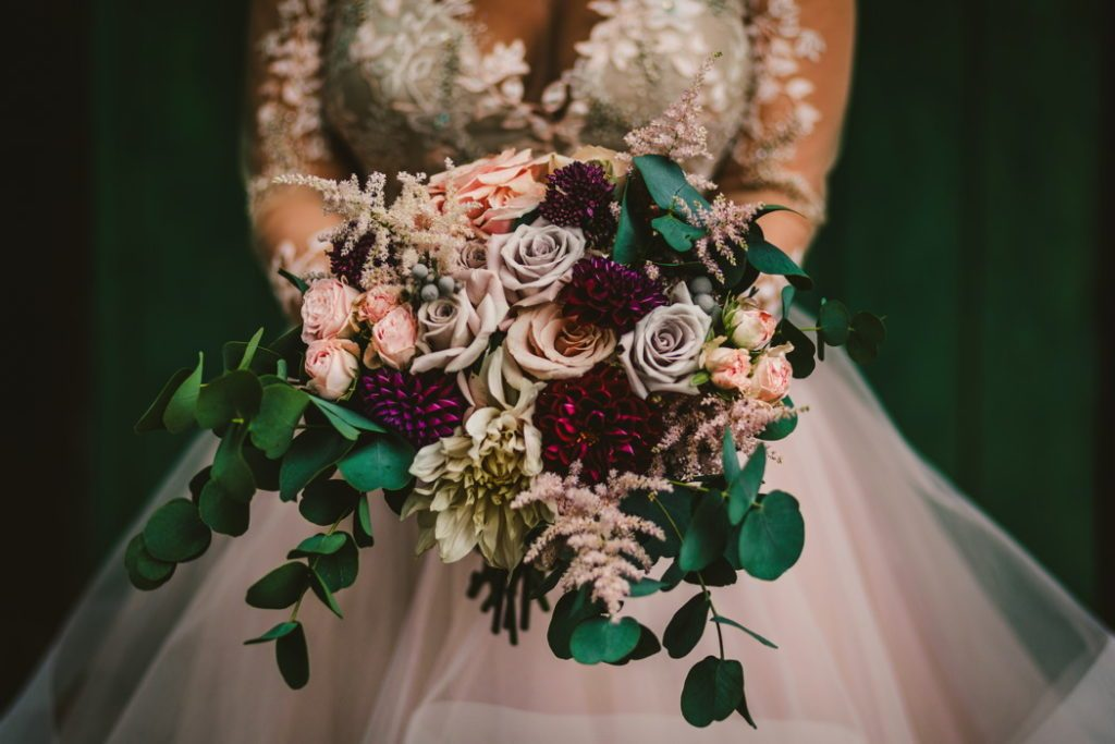 Autumn wedding bouquet ideas deep burgundy green foliage Passion for Flowers