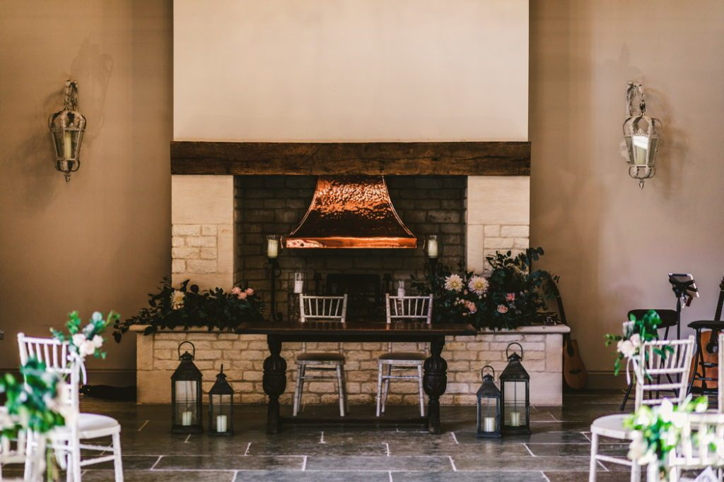 Blackwell Grange wedding fireplace wedding decoration by florist