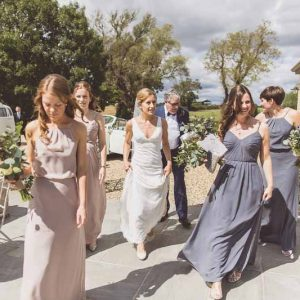 Bridesmaids dress charcoal grey vintage rose