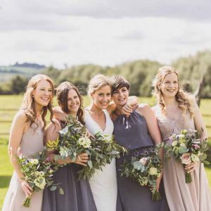 Bridesmaids dress charcoal grey vintage rose Barn Venue