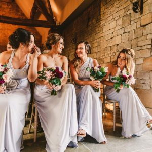 Bridesmaids dresses pale lilac grey