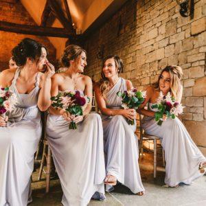 Bridesmaids dresses pale lilac grey