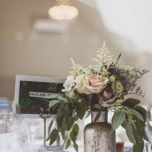 Bronze dusky pink and nude wedding centrepiece flowers Blackwell Grange Barn venue florist Passion for Flowers