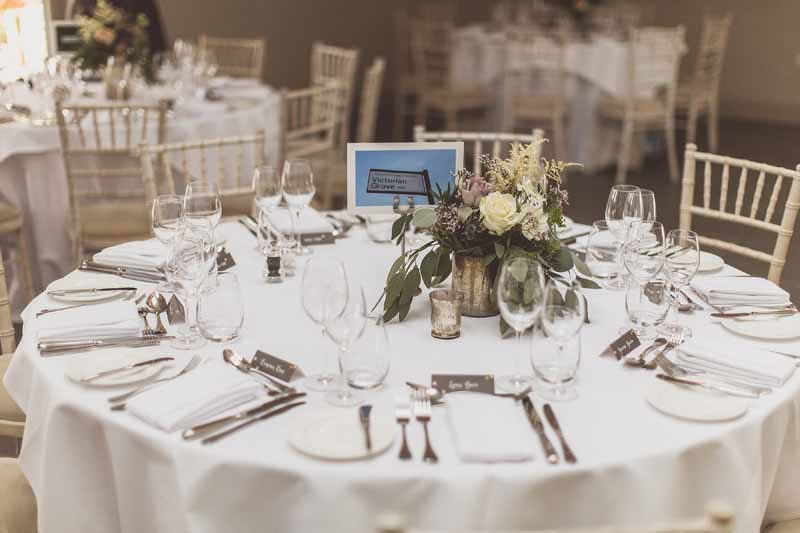 Centrepieces Blackwell Grange wedding venue florist Passion for Flowers