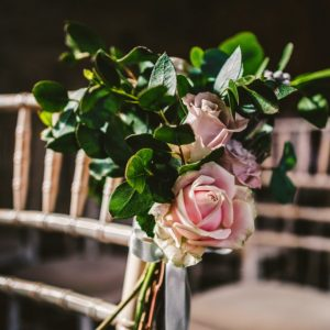 Rose and foliage ceremony aisle decorations Blackwell Grange wedding florist