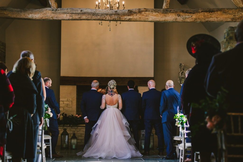 Rustic barn wedding ceremony England Blackwell Grange 2