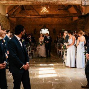 Rustic barn wedding ceremony England Blackwell Grange