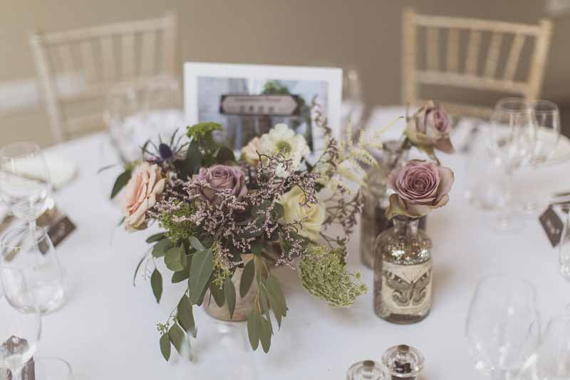 Silver dusky pink and nude wedding centrepiece flowers Blackwell Grange Barn venue florist Passion for Flowers.