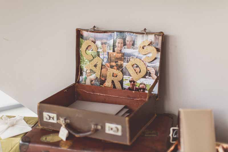 Suitcase for wedding cards gold CARDS bunting