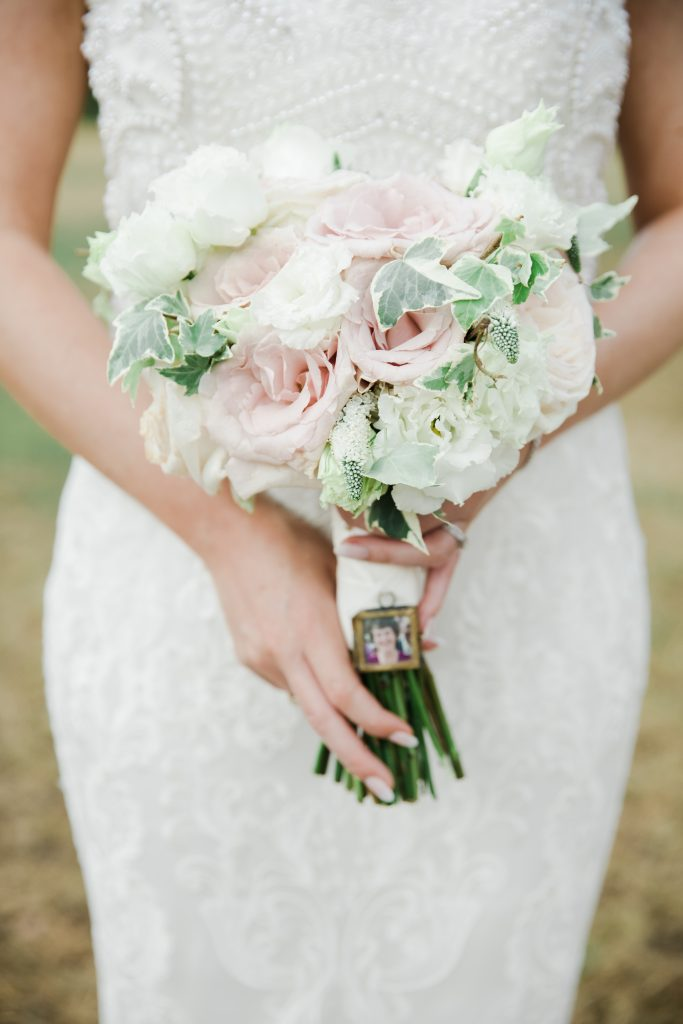 BLush pink roses ivy wedding bouquet with photo charm