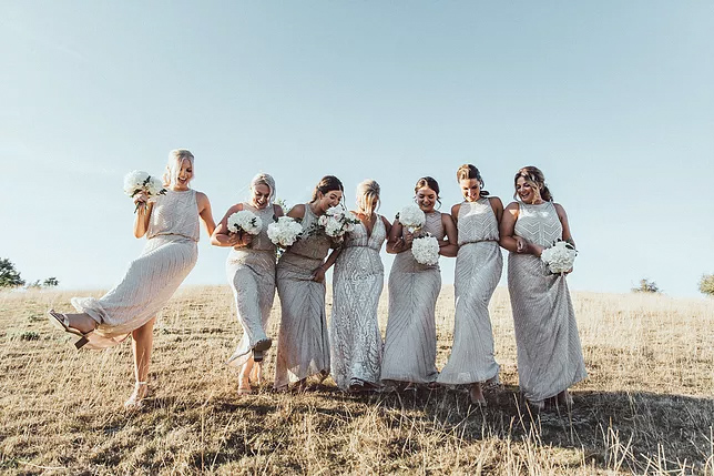 Bridesmaids nude white dresses
