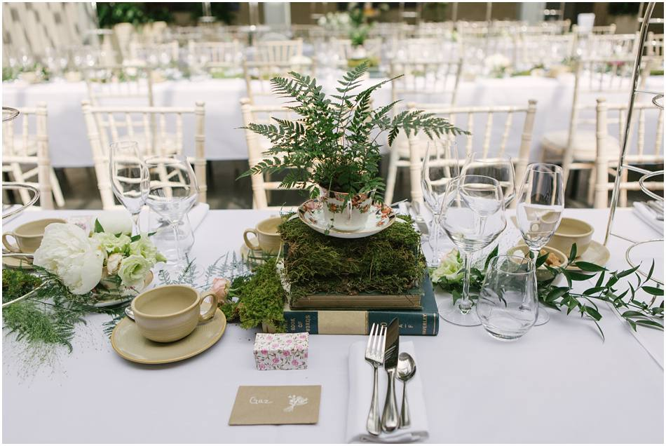 Fern wedding centrepieces moss outdoors natura wedding flowers Passion for Flowers