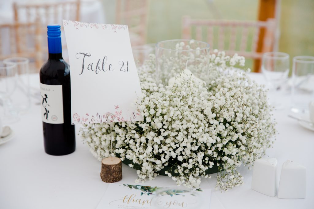 Gypsophila babys breath wedding centrepieces