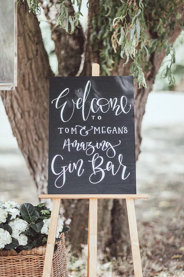 Welcome to our gin bar wedding sign