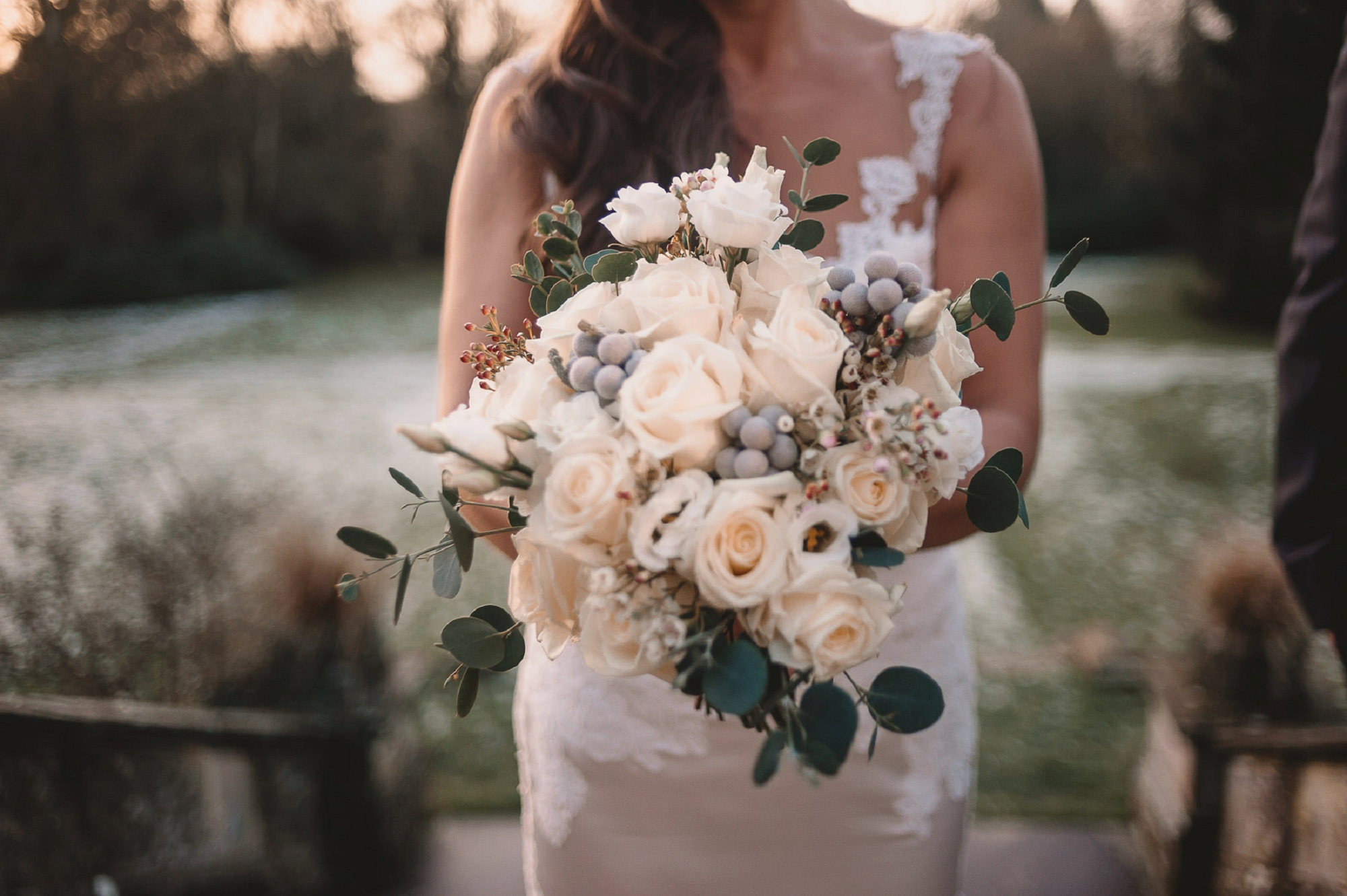 Grey Green Cream Wedding Bouquet Winter Passion For Flowers