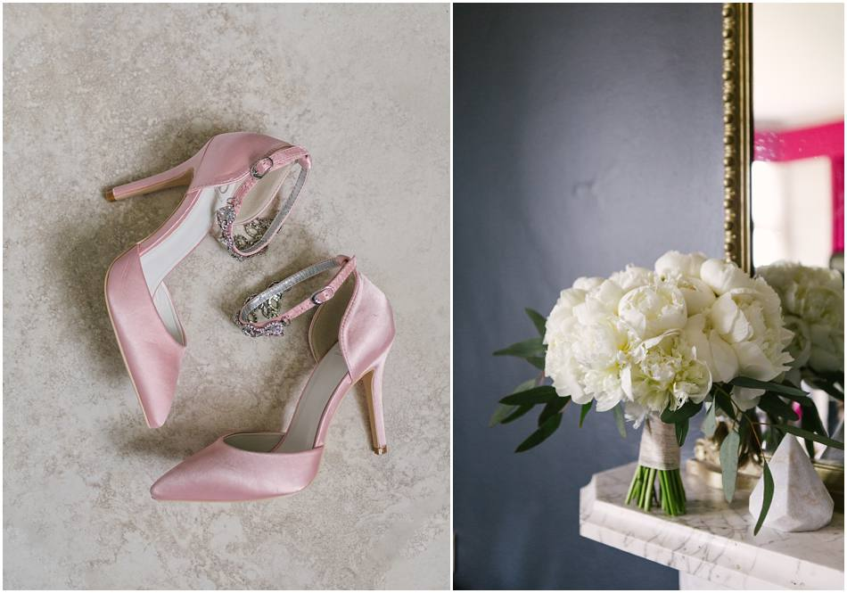 white peony wedding bouquets hampton manor pink wedding shoes