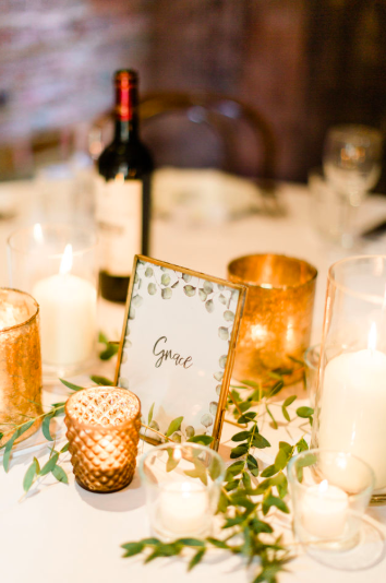 Brass bronze copper wedding table styling Passion for Flowers at Shustoke Farm Barns - wedding centrepieces