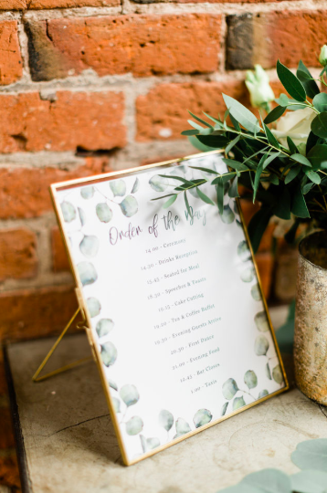 Brass frame wedding signs order of the day The Wedding of my Dreams