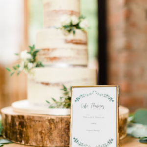 Brass frame wedding signs wedding cake flavours The Wedding of my Dreams