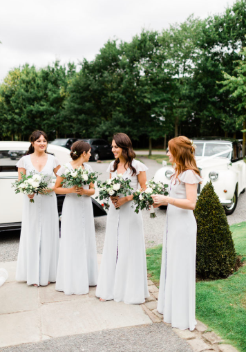 Bridesmaids dresses dove grey with white gree bouquets Passion for Flowers Shustoke Farm Barns