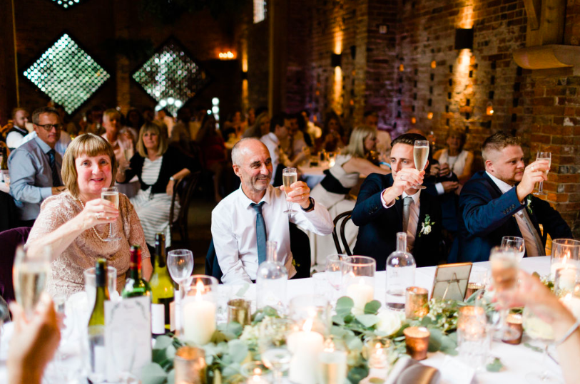 Cheers top table wedding styling brass bronze gold copper Shustoke Farm Barns - Passion for Flowers