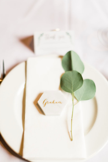 Elegant place settings single eucalyptus foliage stem with personalised hexagon ceramic name