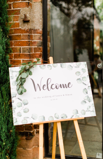 Eucalyptus themes wedding signs welcome to our wedding